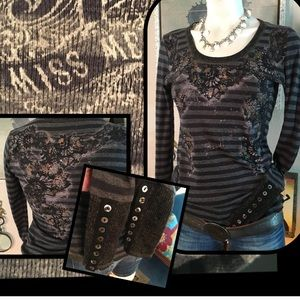 Hold 4/27 TMiss Me Bling Black Top
